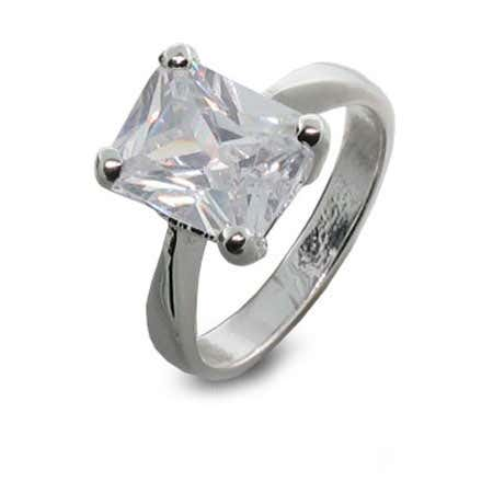 4 Carat Solitaire Emerald Cut CZ Ring