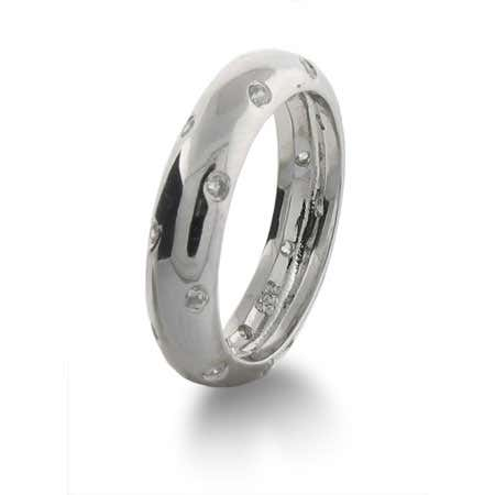 Designer Style Twinkling Band with Inlaid Cubic Zirconia