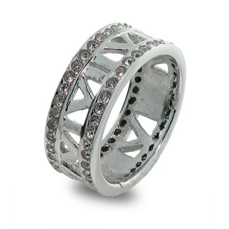Designer Style Open Roman Numeral CZ Sterling Silver Ring   Eve's Addiction®