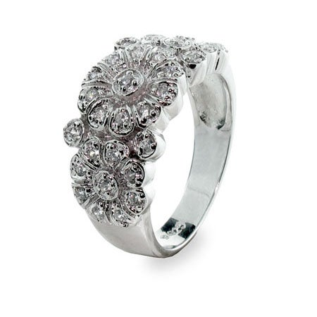 Designer Style Diamond Cubic Zirconia Rose Ring | Eve's Addiction®