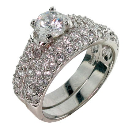 Designer Inspired Diamond Cubic Zirconia Wedding Ring Set | Eve's Addiction®