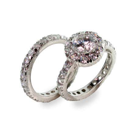 Sterling silver cz engagement ring set with real .925 sterling setting setting