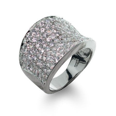 Designer Inspired Diamond Cubic Zirconia Pave Glam Ring | Eve's Addiction®