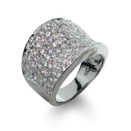 Designer Inspired Diamond Cubic Zirconia Pave Glam Ring