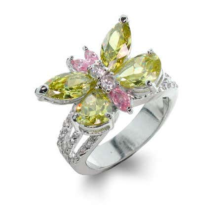 Peridot & Pink Butterfly Ring | Eve's Addiction®