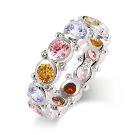 Spring Carnival Stackable Pastel CZ Band in Sterling Silver | Eve's Addiction®