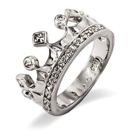 Sparkling Cubic Zirconia Crown Jewels Ring