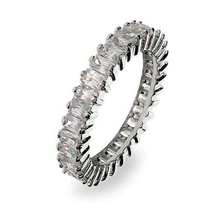 display slide 1 of 1 - Sterling Silver Baguette Cut Cubic Zirconia Anniversary Band - selected slide