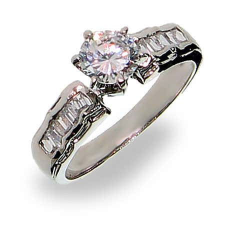 Brilliant Cut Cubic Zirconia Ring with Side Baguette CZs