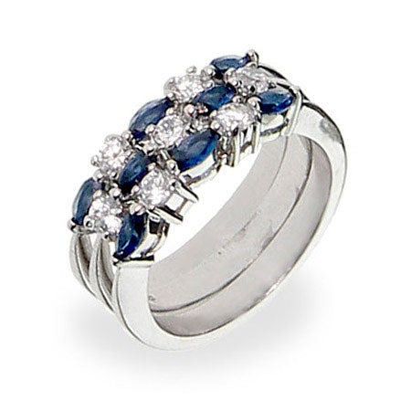 Sterling Silver Sapphire Stackable Ring Set | Eve's Addiction®