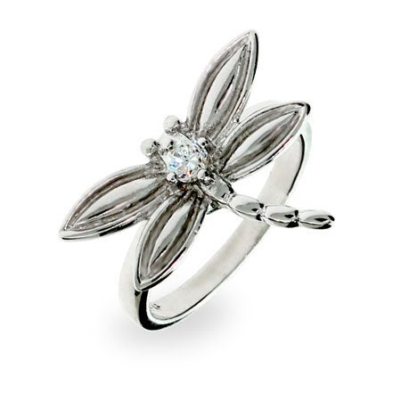 CZ Sterling Silver Dragonfly Ring | Eve's Addiction®