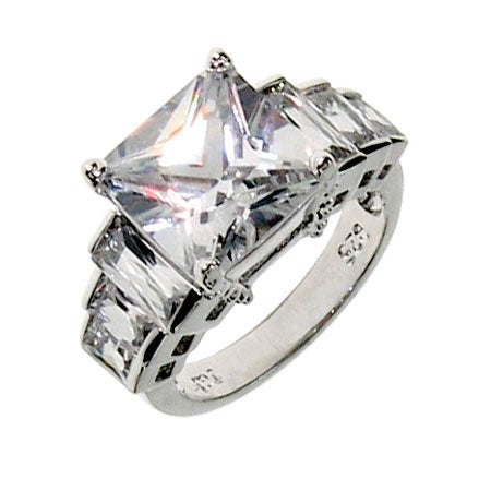 Seven Stone Faceted CZ Engagement Ring | Eve's Addiction®