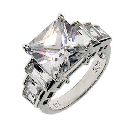 Seven Stone Faceted CZ Engagement Ring