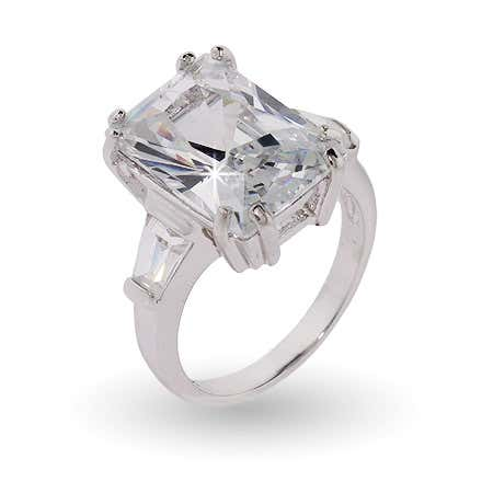 display slide 1 of 3 - Sterling Silver Elegant Diamond CZ Engagement Ring - selected slide