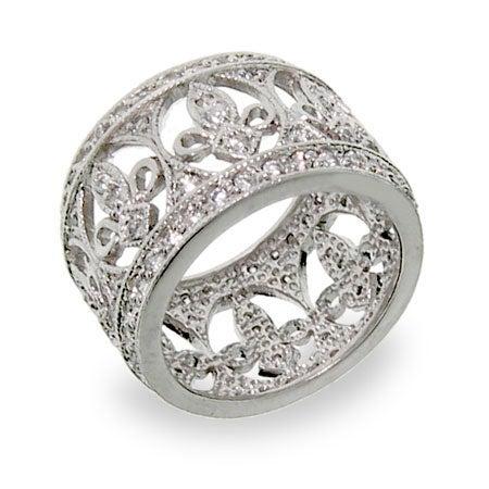 Fleur de Lis Diamond Cubic Zirconia Band   Eve's Addiction®
