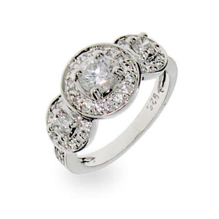 Designer Inspired Vintage Love Sterling Silver CZ Ring