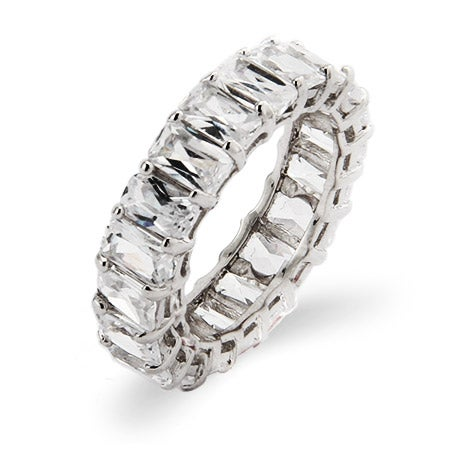 Baguette Cut Diamond CZ Wedding Band in Sterling Silver | Eve's Addiction®