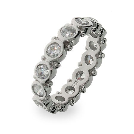 Sterling Silver Bezel Set Eternity Band | Eve's Addiction®