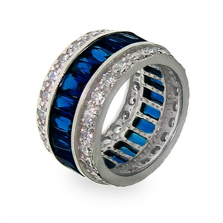 Blue Sapphire Ice Sterling Silver CZ Anniversary Band |Eve's Addiction