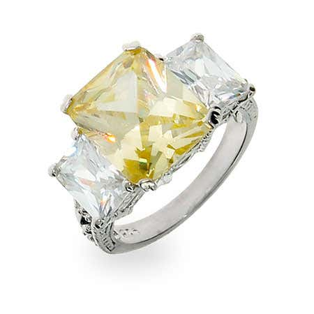 Celebrity Inspired Canary CZ Three Stone Engagement Ring