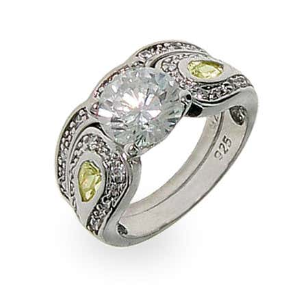 Heirloom Silver & CZ Engagment Ring Set