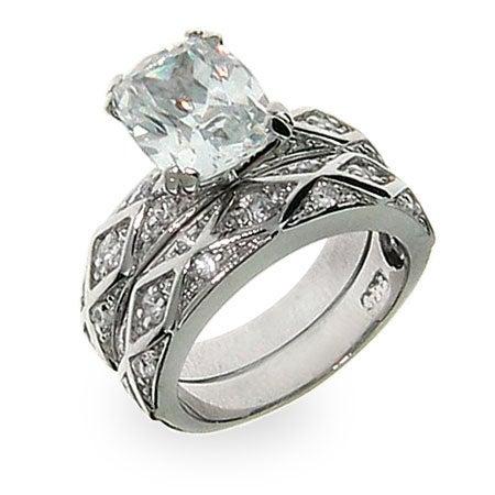 Antique Design Emerald Cut CZ Engagement Ring Set | Eve's Addiction