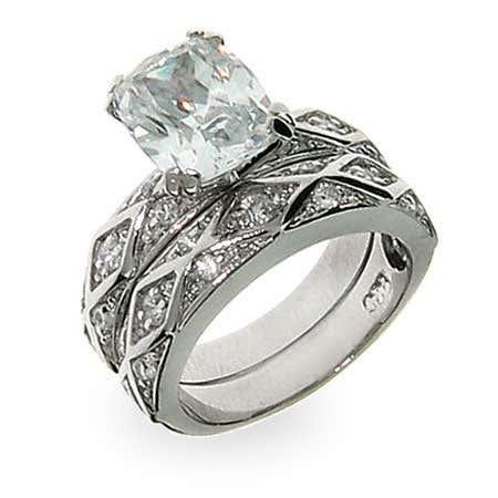 Antique Design Emerald Cut CZ Engagement Ring Set