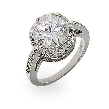 Crown Diamond Signity Star Cut CZ Ring