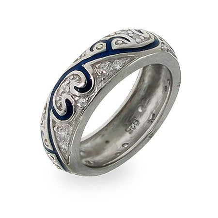Blue Enamel Swirl CZ Ring in Sterling Silver | Eve's Addiction®