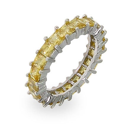 Sparkling Canary Princess Cut Eternity Band | Eve's Addiction®