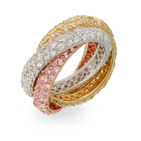 Pave Rolling Trio Triple Roll Ring | Eve's Addiction®