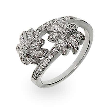 display slide 1 of 2 - Designer Style Diamond CZ Palm Tree Ring - selected slide