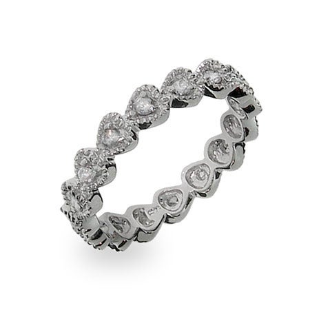 Stackable CZ Bezel Heart Eternity Ring in Sterling Silver | Eve's Addiction®