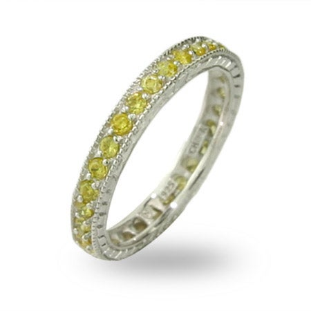 Victorian Style Sterling Silver Canary CZ Stackable Band | Eve's Addiction®