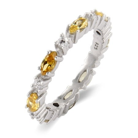 Thin Canary and Clear Stackable CZ Band | Eve's Addiction®