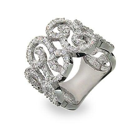 Elegant Diamond CZ Scroll Right Hand Ring | Eve's Addiction®