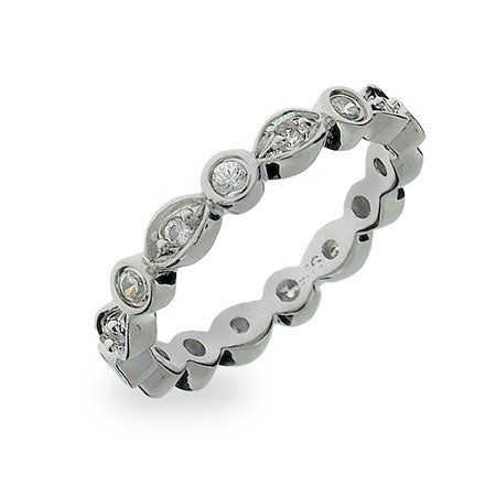 Designer Style CZ Sway Stackable Eternity Ring | Eve's Addiction®