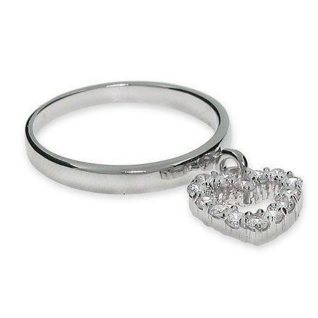 CZ Dangle Heart Ring in Sterling Silver | Eve's Addiction®