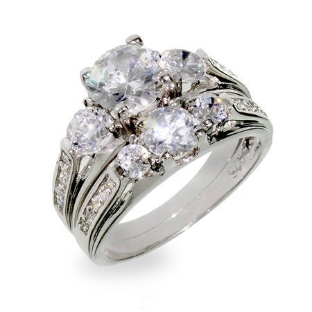 Designer Inspired Past Present and Future Wedding CZ Ring Set | Eve's Addiction®