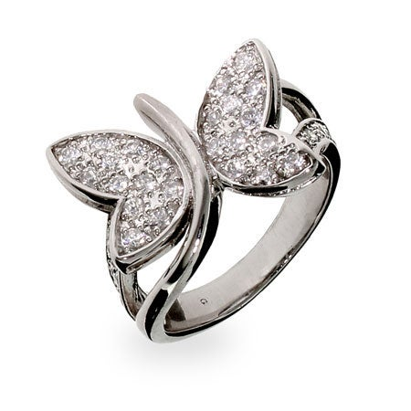 Pave CZ Butterfly Ring   Eve's Addiction