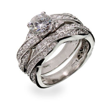 Sterling Silver Twisted CZ Wedding Ring Set | Eve's Addiction®