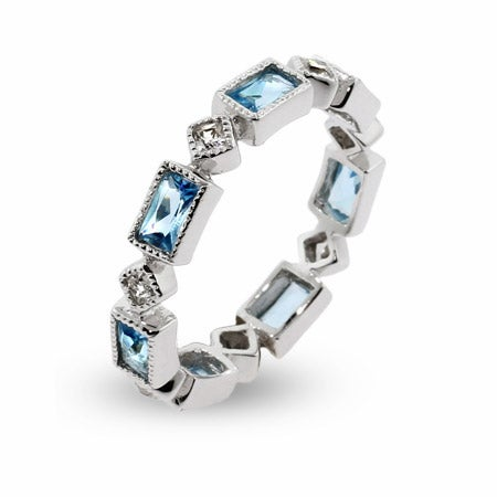 Blue Topaz & Clear CZ Stackable Eternity Ring | Eve's Addiction®