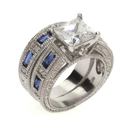 Sapphire and Diamond CZ Silver Ring Set