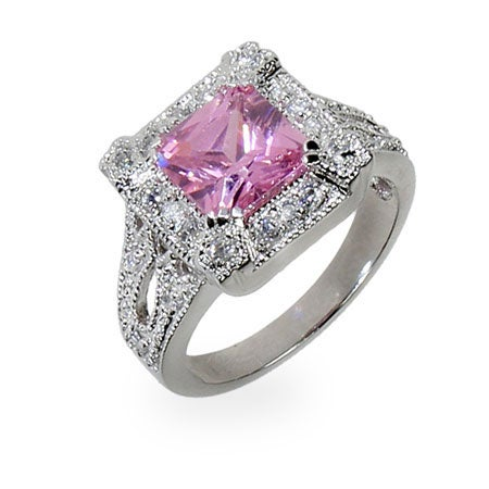 Princess Cut Pink CZ Silver Cocktail Ring | Eve's Addiction®