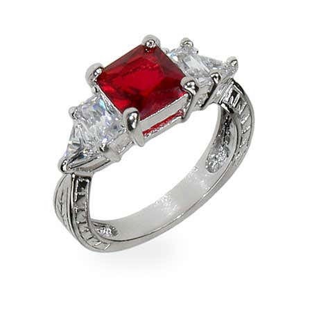 display slide 1 of 2 - Ruby Red & Diamond CZ Silver Engagement Ring - selected slide