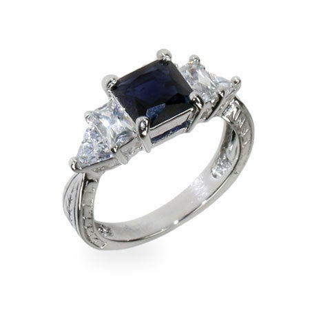 Sapphire and Diamond CZ Engagement Ring | Eve's Addiction®