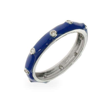 Blue Enamel CZ Silver Stackable Ring | Eve's Addiction®