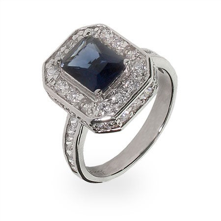 CZ Diamond And Sapphire Cocktail Ring | Eve's Addiction®