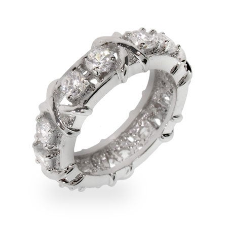 Designer Style Sixteen Stone Ring with Silver X's | Eve's Addiction®