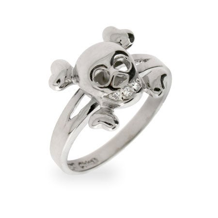 CZ Skull and Crossbones Sterling Silver Ring | Eve's Addiction®